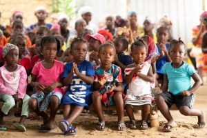 A group of children at the outreach event