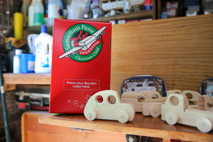 Shoebox next to toy car