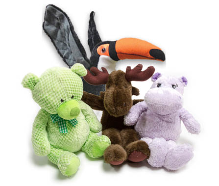 Bear, moose, hippo and toucan soft toys